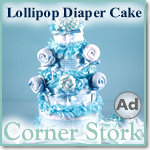 Baby Boy Blue Lollipop Diaper Cake