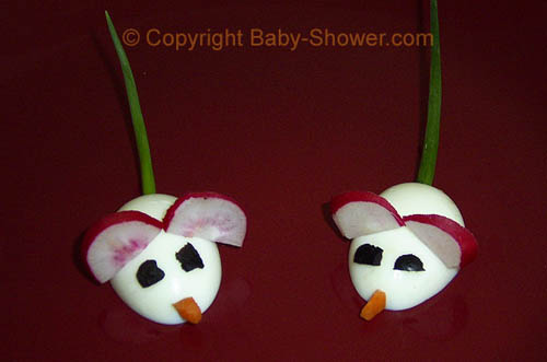 Completed Egg Mice   © Baby-Shower.com